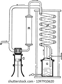 This illustration represents Air Liquefaction Machine where air thus cooled and strongly compressed passes down through the inner tube vintage line drawing or engraving illustration.