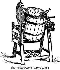 This illustration represents Churn which is a machine or container in which butter is made by agitating milk or cream vintage line drawing or engraving illustration.