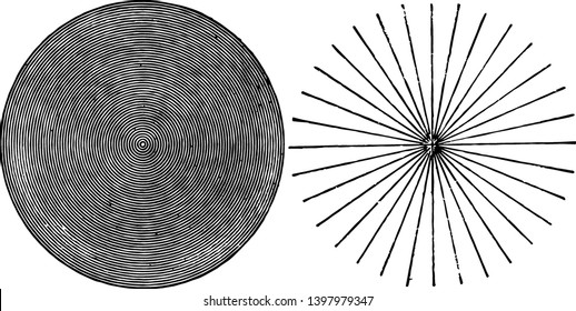 This illustration represents Detection of Astigmatism vintage line drawing or engraving illustration.