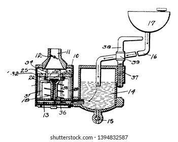 This illustration represents Engine Carburetor vintage line drawing or engraving illustration.