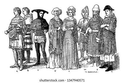 This illustration represents England Fourteenth Century Middle Ages Fashion, vintage line drawing or engraving illustration.