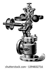 This illustration represents Exterior View of Waters Spring Governor which is used to regulate fuel by closing and opening the valves vintage line drawing or engraving illustration.
