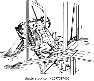 This illustration represents Feeding Machine which has been adapted to feed and push a material with a high consistency vintage line drawing or engraving illustration.