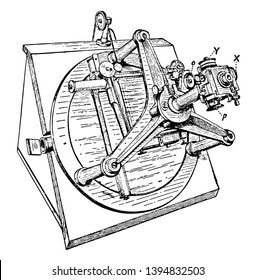 This illustration represents Gill Measuring Machine for Micrometer vintage line drawing or engraving illustration.