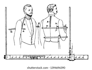 This illustration represents Gradually Marked Tailors Measure, vintage line drawing or engraving illustration.