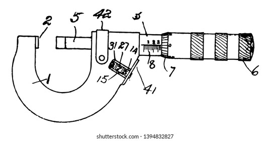 This illustration represents Micrometer Gage which is used for measuring very small distances vintage line drawing or engraving illustration.