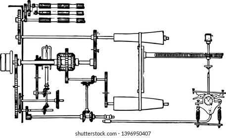 This illustration represents Motion Gear which is for slubbing machine, vintage line drawing or engraving illustration.