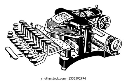 This illustration represents Open Typewriter, vintage line drawing or engraving illustration.