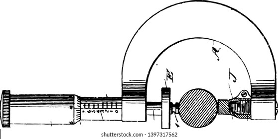This illustration represents The Precision Micrometer Screw Gauge which is used for measuring accurately the diameter of a thin wire vintage line drawing or engraving illustration.