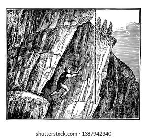 This illustration represents The Samphire Gatherer, vintage line drawing or engraving illustration.