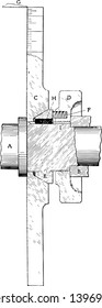 This illustration represents Shaper Spindle Micrometer Scale where measure the diameter by reading the raised ruler vintage line drawing or engraving illustration.