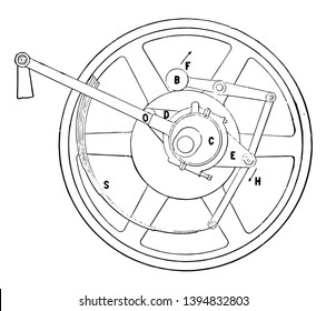 This illustration represents Spring Governor for Steam Engines which consist of a pendulum governor vintage line drawing or engraving illustration.