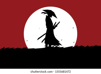 This is an illustration of a samurai standing in a meadow in the moonlight. This vector can be used to design background shirts, posters, brochures, bags and mugs.