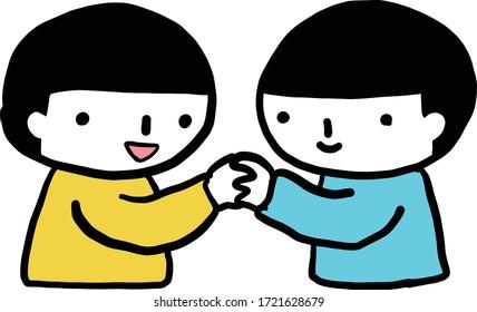 This illustration shows children shaking hands.