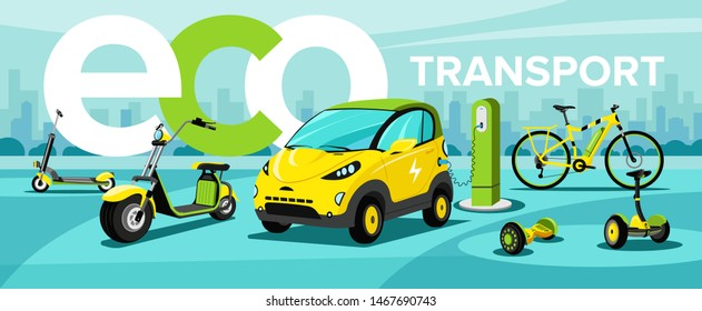 This illustration shows modern eco urban transport: segway, hoverboard, hybrid bike, electric car, electric bike, electric scooter