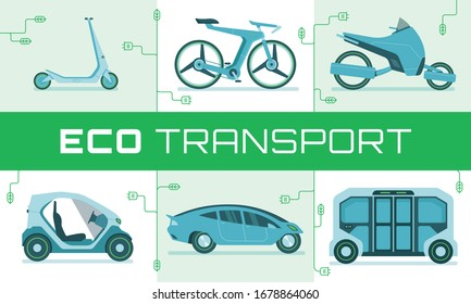 This illustration shows modern eco urban transport: electric scooter, modern bicycle, electric bike, electric mini car, electric car, bus