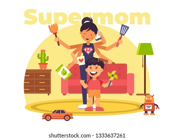 This illustration shows a supermom who can do several things at the same time: prepare food, tidy up in the apartment, talk on the phone, shop and comb her son's hair