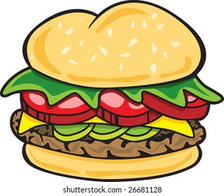 This is an illustration of a tasty hamburger.