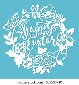 This illustration is a vintage paper cut garden flowers wreath frame happy easter. The frame lace is composed of flowers, leaves, vines, birds, and easter phrase.