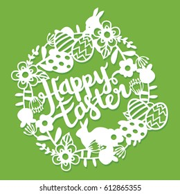 This illustration is a vintage paper cut floral frame lace with happy easter lettering. The frame lace is composed of flowers, leaves, vines, rabbits, and easter phrase.