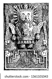 This is the image of an ancient sculpture of Peru. The structure of the sculpture is like a robot. This ancient sculpture of the country Peru, vintage line drawing or engraving illustration.