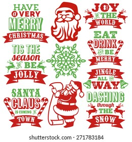 This image is a collection of vintage inspired paper cut style christmas word arts with decorative christmas symbols.