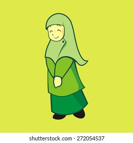 """this image or illustration is about a moslem girl that use """"hijab"""" as her dress. it is become cute, neat, classy, at same time there is also calming."""