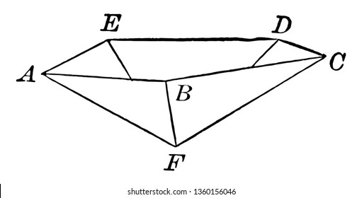 This image is of an inverted pentagonal pyramid. It's a pyramid with a regular Pentagon for its base, vintage line drawing or engraving illustration.