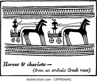 This image represents Aryan Speaking People Horses and Chariots, vintage line drawing or engraving illustration.