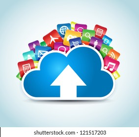 This image represents a cloud upload with apps illustration. / Cloud Apps