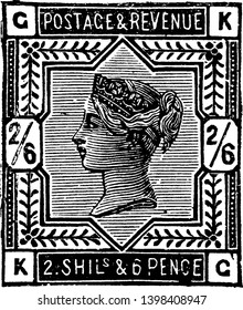 This image represents Great Britain and Ireland Two Shillings Six Pence Stamp from 1883 to 1884, vintage line drawing or engraving illustration.