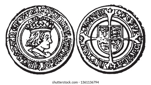 This image represents Shilling from the time of Henry VII, vintage line drawing or engraving illustration.
