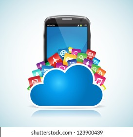 This image represents a SmartPhone conected to the cloud. / SmartPhone Cloud