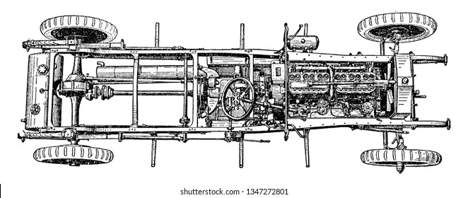 This image represents Top View of Six Cylinder 1910 Rolls Royce Chassis with Engine and Axle, vintage line drawing or engraving illustration.