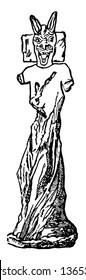This image shows the ancient idol. Idol has a longer ear and are found in Korsabad, vintage line drawing or engraving illustration.