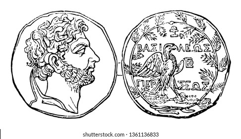 This image shows the coin with the face of Perseus. On one side there is a snap of the face and the other side is composed of a bird with some text, vintage line drawing or engraving illustration.