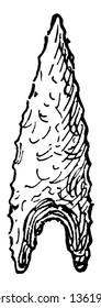 This image shows the Flint arrowhead. The lower part of the arrowhead is wide and the top of the arrowhead is narrow, vintage line drawing or engraving illustration.