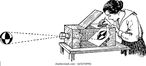 This image shows a woman creating an illustration using the camera obscura, vintage line drawing or engraving illustration.