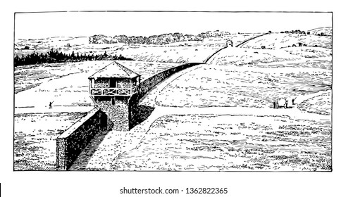 In this image there is a longer wall. The area around the wall seems deserted. There are some trees behind the wall, vintage line drawing or engraving illustration.