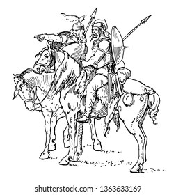 In this image there are two horsemen sitting on the back of the horse. A man shows something to another man using his finger, vintage line drawing or engraving illustration.