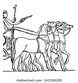 This is the image of Triumphus. There is a horserider along with the four horses, vintage line drawing or engraving illustration.