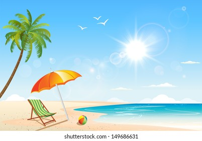 This image is a vector file representing a summer beach inspired scene. / Summer / Summer