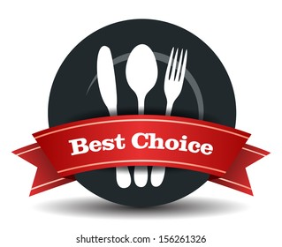 This image is a vector file representing a restaurant badge, plate with fork, knife and spoon. / Restaurant Food Quality Badge / Restaurant Food Quality Badge