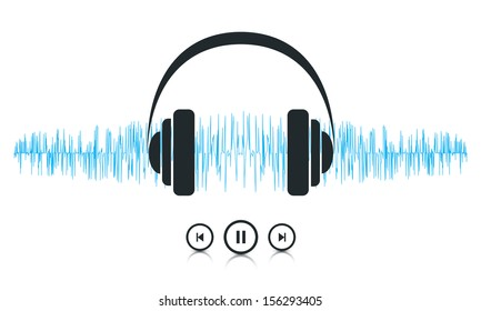 This image is a vector file representing a sound waves music player concept. / Music Sound Waves / Music Sound Waves