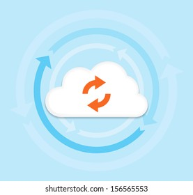 This image is a vector file representing a internet cloud computing concept. / Cloud Computing / Cloud Computing
