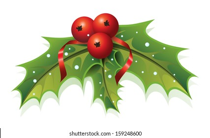 This image is a vector file representing a Holly Christmas Plant. / Holly Christmas / Holly Christmas