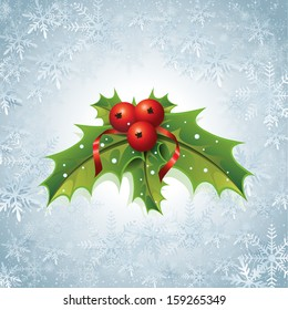 This image is a vector file representing a Holly Christmas Background. / Holly Christmas Background / Holly Christmas Background