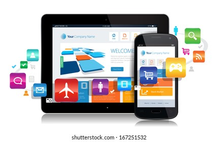 This image is a vector file representing a smartphone  and a tablet with a responsive design website surrounded by apps.