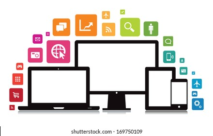 This image is a vector file representing a set of media technology devices with app icons. / Laptop Desktop Tablet Smartphone App / Laptop Desktop Tablet Smartphone App