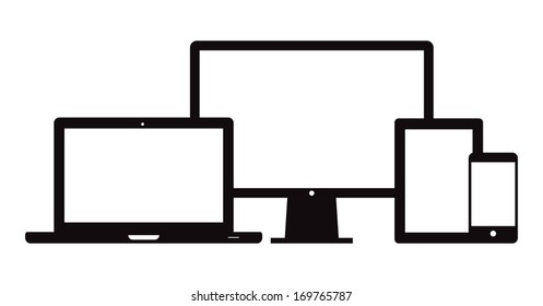 This image is a vector file representing a set of electronic devices. Smart Phone Tablet Laptop Desktop. / Smart Phone Tablet Laptop Desktop / Smart Phone Tablet Laptop Desktop